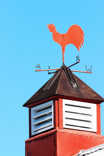 A close up image of a Red Rooster weather vane on top of a farm building. East Farm Red South Weather Blue Sky Building Exterior Farm Building North Red Rooster West