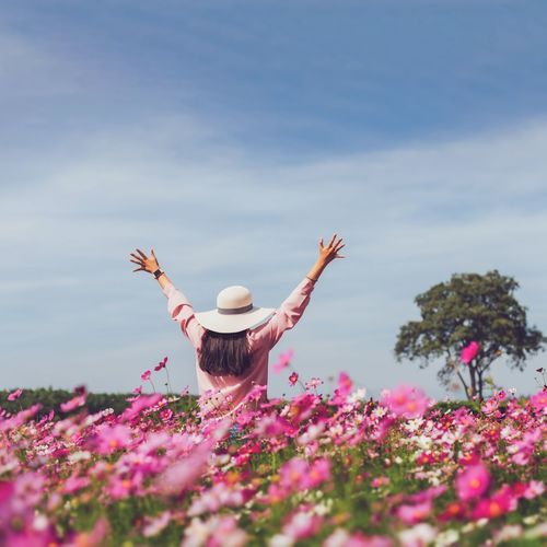 Rear view of woman with pink flowers against sky