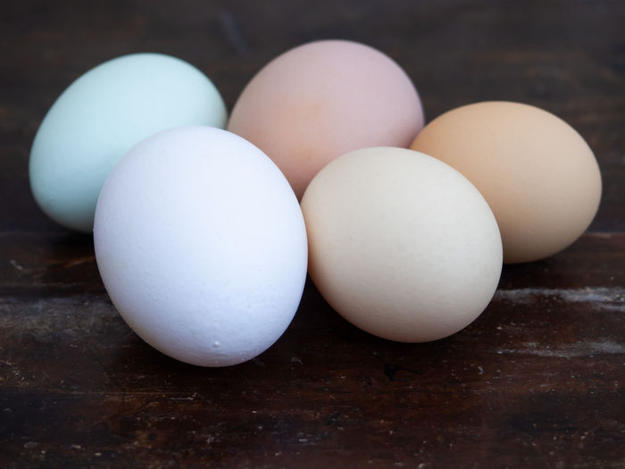 Close-up of eggs on table