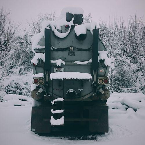 Snow Winter Cold Temperature People Urban Landscape Tank Truck Truck