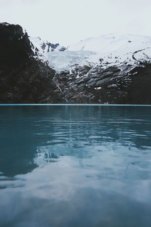 Water Mountain Cold Temperature Beauty In Nature Winter Scenics - Nature Nature Sky Waterfront Tranquility Day Tranquil Scene Snow No People Lake Ice Reflection Snowcapped Mountain Outdoors Swimming Pool Surface Level Mountain Peak