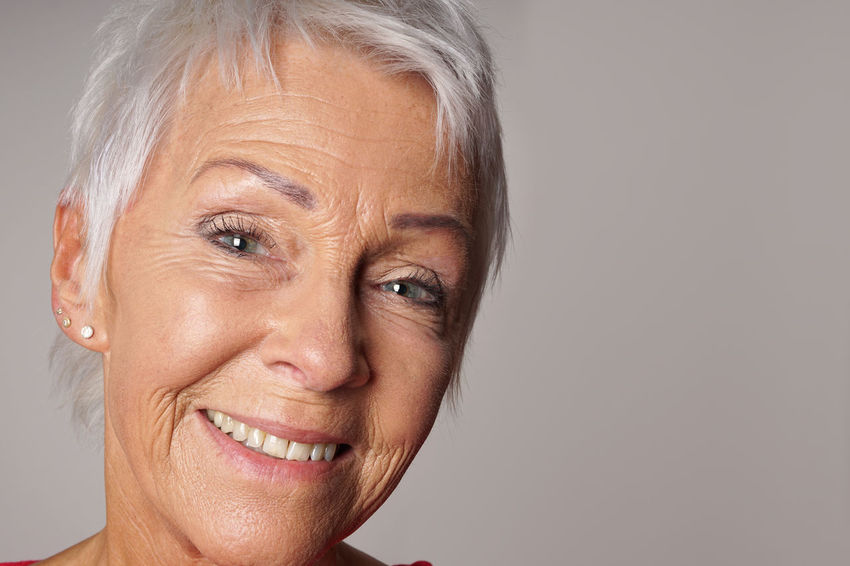 Best Ager Close-up Copy Space Headshot Looking At Camera Mature Adult Mature Woman Older Person People Person Portrait Senior Smiling Studio Woman