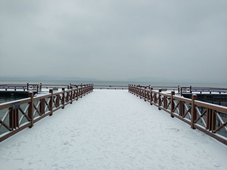 Sea Horizon Over Water Beach Tranquility Outdoors Day Water Scenics Tranquil Scene Cold Temperature Nature No People Sky Travel Destinations Vacations Winter Beauty In Nature Snow Groyne