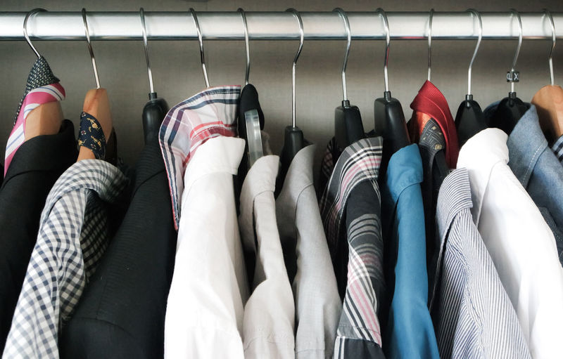Close-Up Of Shirts Hanging On Coathanger