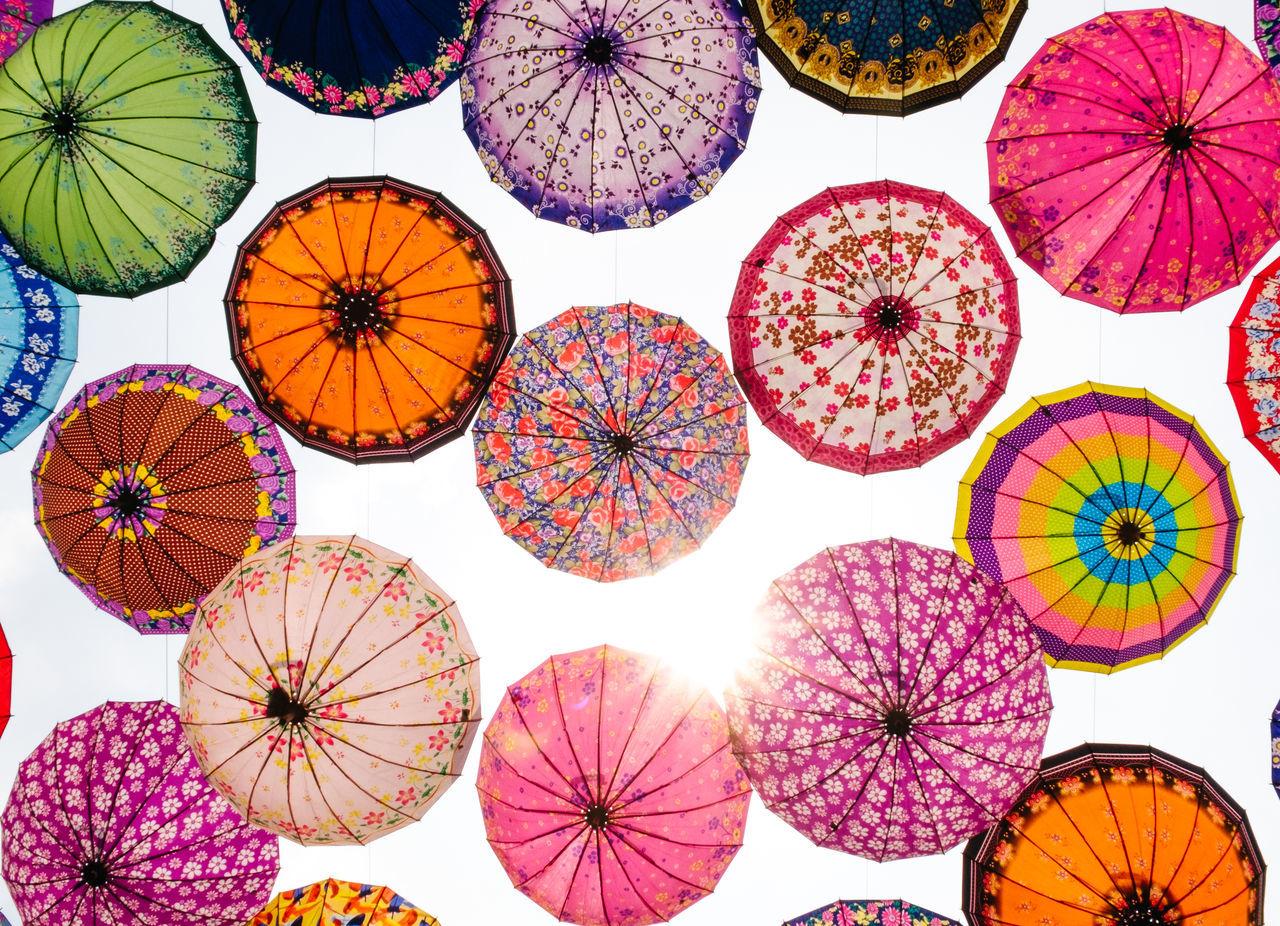 Full frame shot of umbrellas against sky