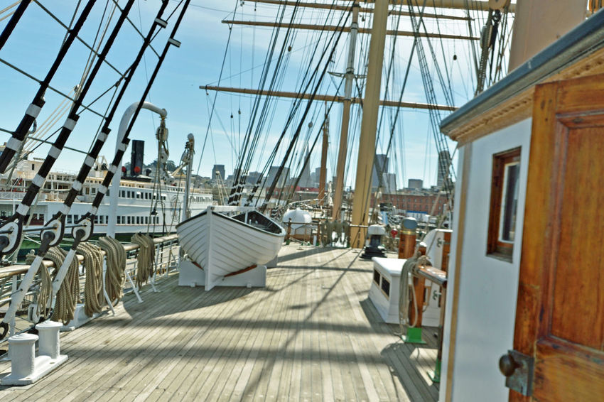 The Balclutha @ Hyde St. Pier 4 San Francisco, Ca. San Francisco Maritime National Historic Park Historic Ship Square-rigged Sailing Ship Cargo Is King 1st Career 1886-99 Grain 2nd Career 1899-1902 Lumber 3rd Career 1902-30 Salmon Onboard Cannery