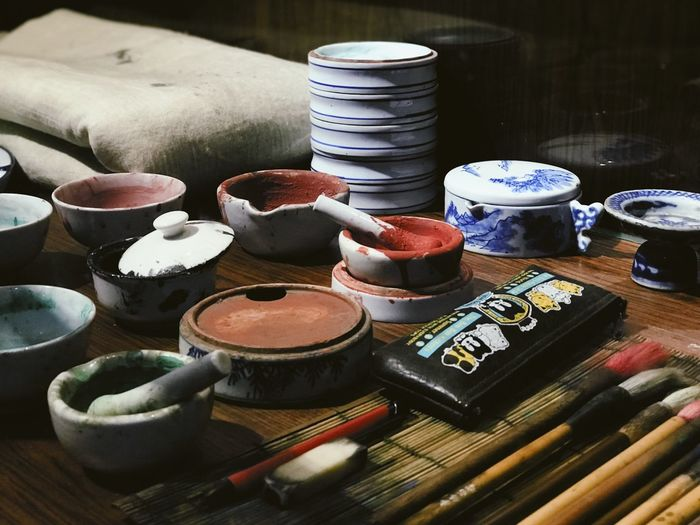 Chinese Culture Painting Tools Table Choice Still Life Indoors  Art And Craft Large Group Of Objects Close-up Craft