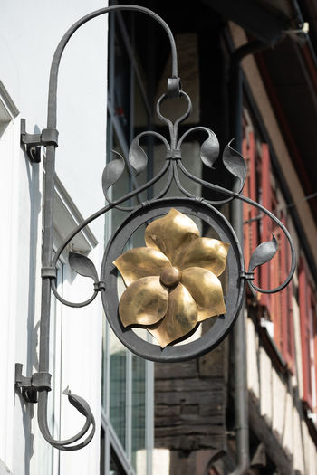 Architecture Barrier Boundary Building Exterior Built Structure Close-up Day Decoration Design Fence Focus On Foreground Gate Gold Colored Half-timbered House Low Angle View Metal Nature No People Ornate Outdoors Railing Wrought Iron