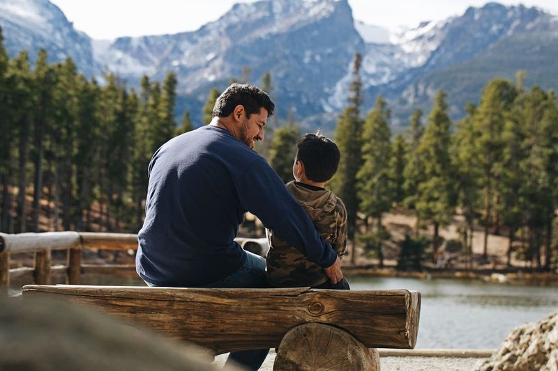 Enjoy The New Normal Fatherhood Moments Father & Son Mountain Nature Sitting Vacations Beauty In Nature Bonding Togetherness Perspectives On Nature