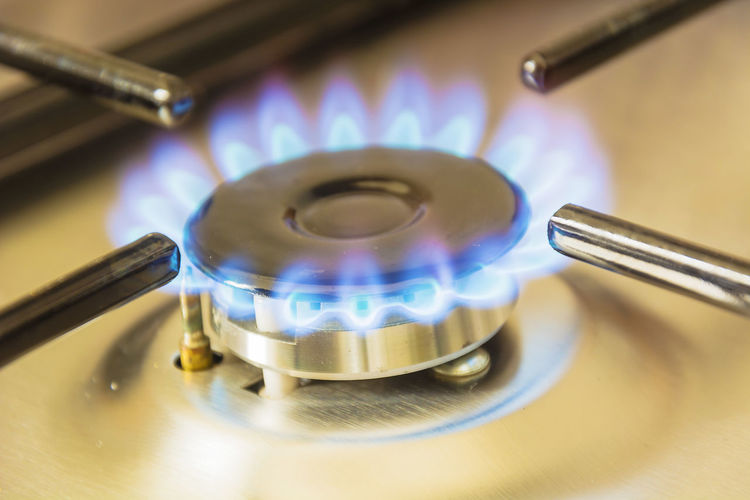 Close-Up Of Burning Gas Stove Burner