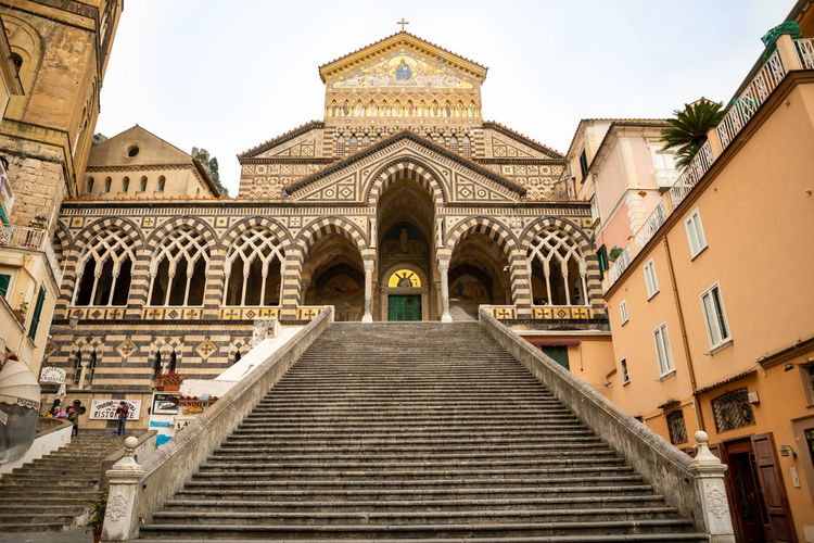 Italy Amalfi  Amalfi Coast Architecture Built Structure Building Exterior Staircase Low Angle View Religion Belief Spirituality Building Sky Place Of Worship The Way Forward Arch Day Direction Steps And Staircases No People Façade Outdoors Ornate