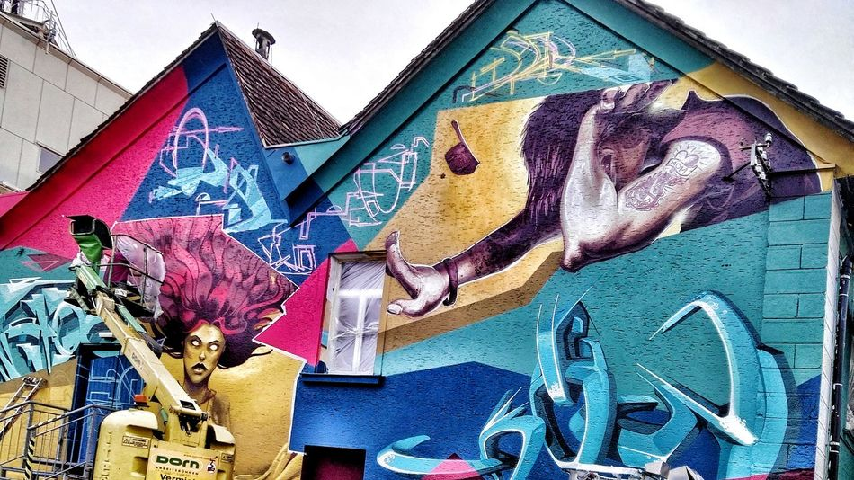 In Progress... New Incomplete Mural on Juz: Lost In Between in Bregenz near by Railway Station Hbf Bregenz Paint The Town Yellow