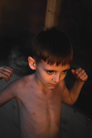 Portrait of shirtless boy