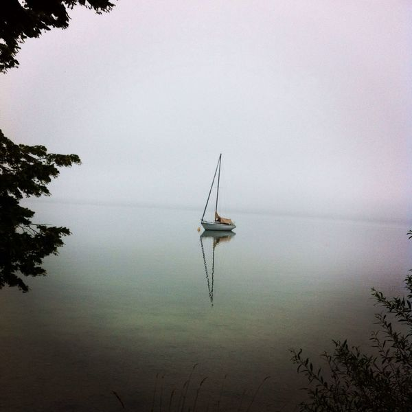 Nature Boat Water Reflections Foggy