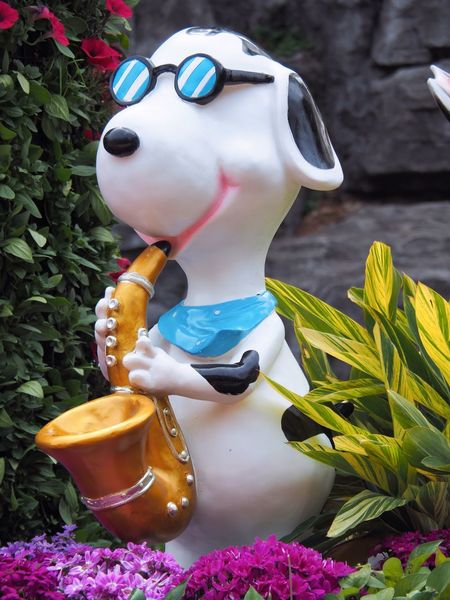 Sax Playing Dog Artistic Expression Childhood Close-up Cool Dog Creativity Day Decoration Flower Flowering Plant Garden Sculpture  Joy Of Music music brings us together Nature Park Plant Playing Saxophone Public Places Representation Sculpture Statue