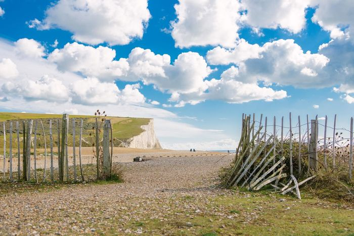 Broken down fences with the Seven Sisters Cliffs in the back. Cloud - Sky Cuckmere Haven Fences Landscape Scenics Seven Sisters Cliffs Seven Sisters White Cliffs