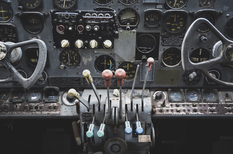 Control panel of abandoned airplane