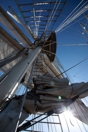 Let's Sail Architecture Day Low Angle View Sails Up Sky Tall Ship Upwards View Yard Arms