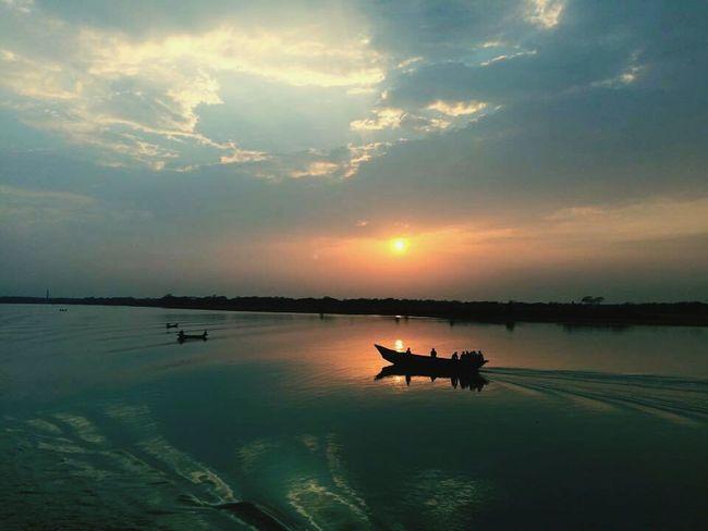 River By The River Nauka Bangladesh Riverside Sunset Sun Bule Sky Water