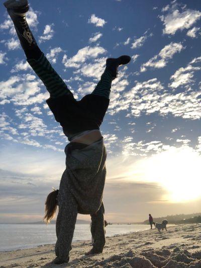 April fools Upside Down Cartwheel Sky Land Sea Beach Real People Water Cloud - Sky Sand Leisure Activity Full Length