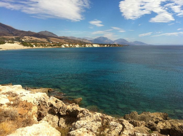 Beach Beauty In Nature Blue Blue Sky Cloud - Sky Crete Day Greece Idyllic Land Mountain Nature No People Outdoors Rock Rock - Object Rocks And Water Rocks Under Water Scenics - Nature Sea Sky Tranquil Scene Tranquility Turquoise Colored Water