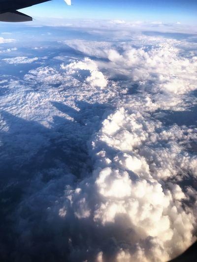 Aerial view of cloudscape seen from airplane