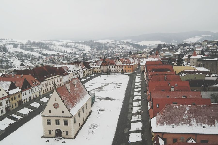 Bardejov BARDEJOV Slovensko Winter Snow High Angle View Cold Temperature Outdoors Aerial View Day No People Cityscape Mountain Politics And Government Architecture City Building Exterior Sky