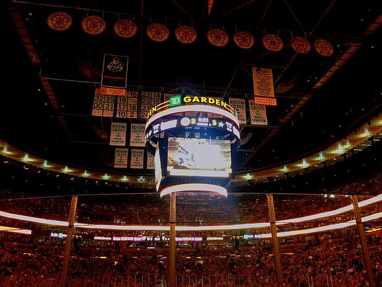 Boston Bruins Having Fun Hockey All The Neon Lights
