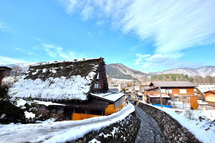 Snow Mountain Built Structure Winter Cold Temperature Sky Building Exterior Architecture Nature House Mountain Range Beauty In Nature Day Outdoors Scenics No People Landscape Beauty In Nature Nature Japan