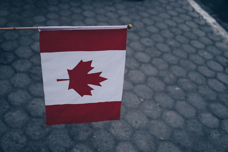 canada flag Copy Space Red Waving Backgrounds Canada Close-up Day Flag Focus On Foreground Footpath High Angle View Independence Leaf Maple Leaf National Icon Nature No People Object Outdoors Patriotism Paving Stone Pride Red Shape White Color This Is Strength Autumn Mood A New Perspective On Life Streetwise Photography The Art Of Street Photography