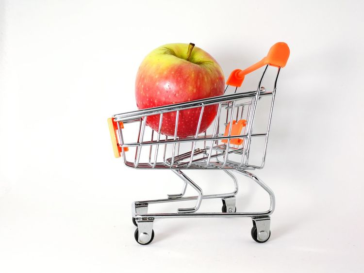 gala apple in the trolley Gala Apple Shopping Cart Fruit Consumerism Healthy Eating Supermarket Buying Food Food And Drink Apple - Fruit Retail  Freshness Groceries Shopping Basket Vegetable Red Market Healthy Lifestyle White Background No People Indoors