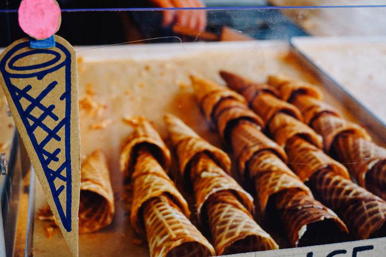 Close-up of ice cream cones