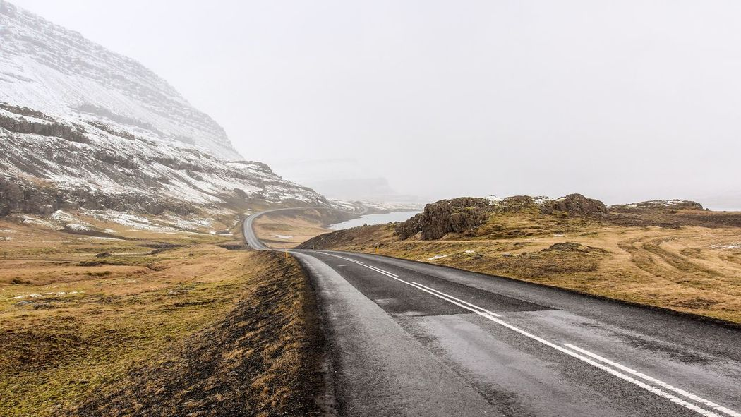 Winding road in Iceland Beauty In Nature Cold Curve Curved Road Driving Iceland Journey Landscape Mountain Mountain Range Mountain Road Nature No People Outdoors Road Scenics The Way Forward Tranquility Transportation Travel Way Ahead Way To Go Winding Road The Great Outdoors - 2017 EyeEm Awards