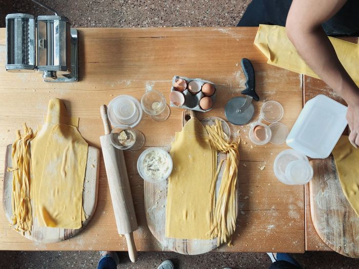 High angle view of preparing food on cutting board