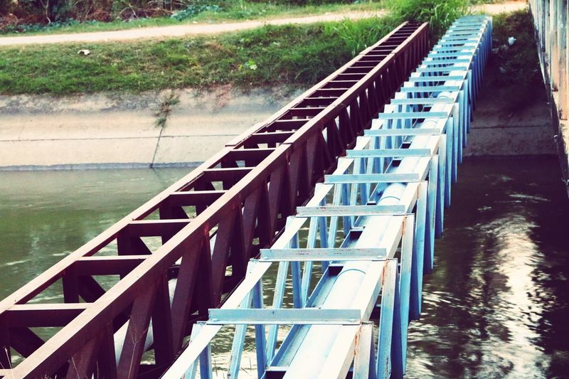 Steel Day Outdoors Water No People Nature Lack Ladder Pipe Pipe Bridge Management Canal Truss Bridge Truss Strength Momentum Angle Steel