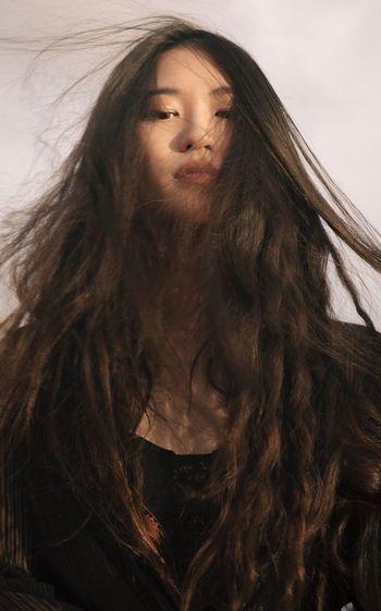 Long Hair Beauty Portrait Outdoors Sunset