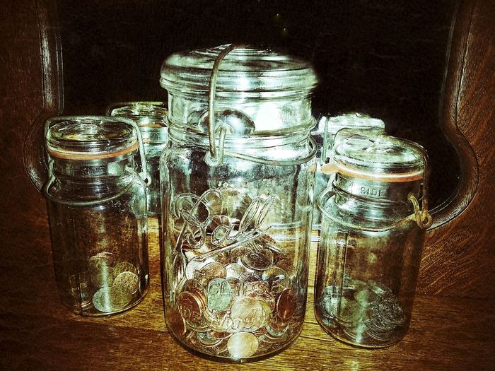 money jars Glass See What I See Jar Antique Vintage Piggy Bank Coins Mirror Wood - Material Furnitures Savings Bottle Close-up Aged