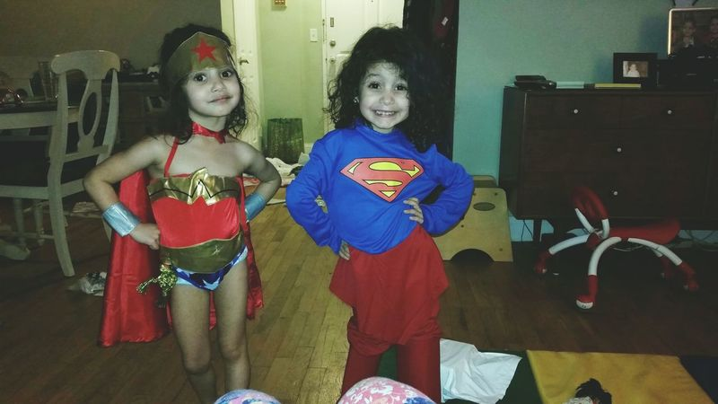 My Superheroine twins!!!!! Wonderwoman Superwoman SVL Stella ❤ Sophia❤ momma loves you