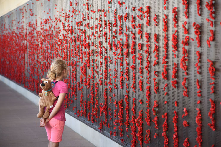 Australian War Memorial Canberra Remembrence Backpack Blond Hair Day Elementary Age One Girl Only Poppies  Stuffed Animal