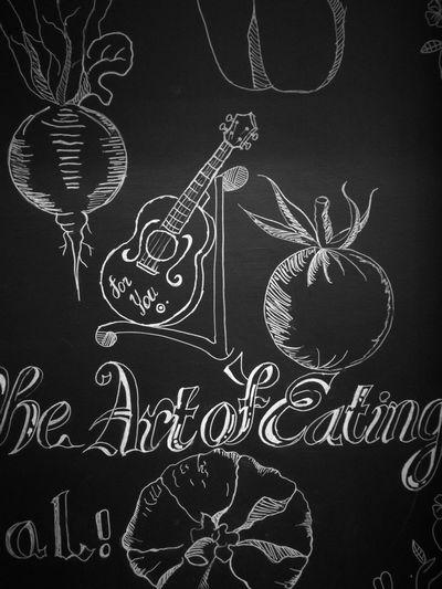 PATA PLANTATION Restaurant Guitar Vegetables Fruits blackandwhite Monochrome LINE Blackboard  Chock Colour Fine Art Photography
