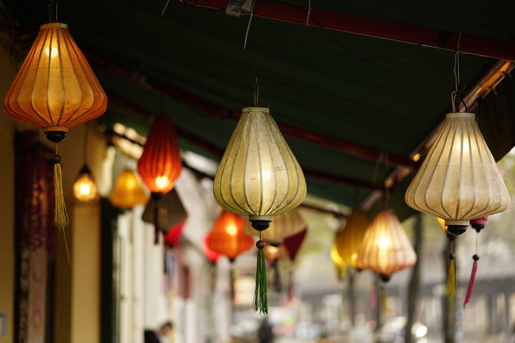 Lighting Equipment Hanging Illuminated Lantern Decoration Focus On Foreground Electricity  No People Indoors  Low Angle View Architecture Night Built Structure Electric Lamp Light Close-up Pendant Light Chinese Lantern Electric Light Ceiling