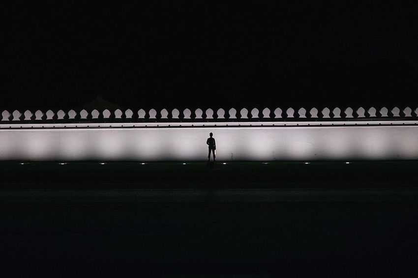 Bangkok Thailand. Streetphotography Yoonjeongvin Nightphotography Silhouette One Person One Man Only Adults Only Adult Only Men Full Length Architecture The Graphic City Colour Your Horizn The Architect - 2018 EyeEm Awards HUAWEI Photo Award: After Dark