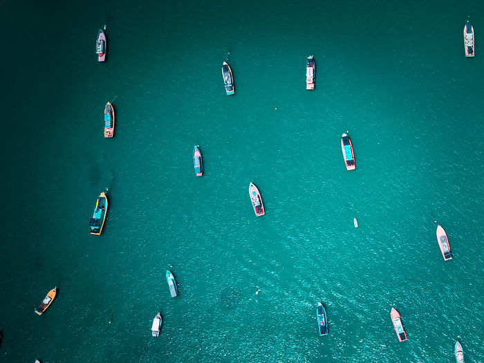 Aerial View Of Boats Moored On Sea