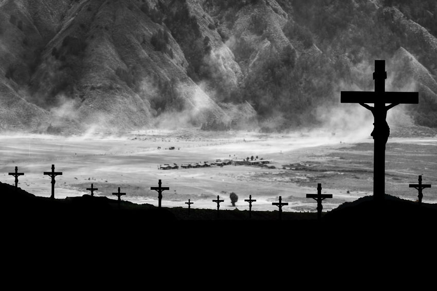 Religion Cross Belief Spirituality Sky Silhouette Nature Place Of Worship Crucifix Land Outdoors Cloud - Sky Group Of People Beauty In Nature Water Cross Shape Cemetery Grave