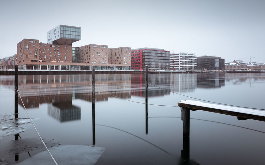 Berlin Mediaspree during the winter season Architecture Beauty In Nature Berlin Bridge - Man Made Structure Business Finance And Industry City City In Winter Day Fineart Longexposure Mediaspree Nature No People Osthafen Berlin Outdoors Philipp Dase Reflection River Snow And Ice  Spree River Berlin Water Winter Winter 2017 Winter In The City Discover Berlin