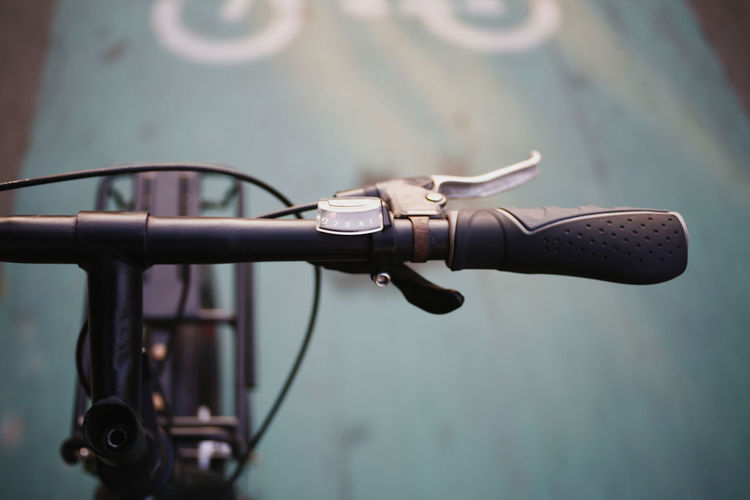 Bicycle Focus On Foreground Handlebar Metal Land Vehicle Close-up Mode Of Transportation Transportation No People Day Handle Selective Focus Communication Detail High Angle View Outdoors Technology Control Stationary