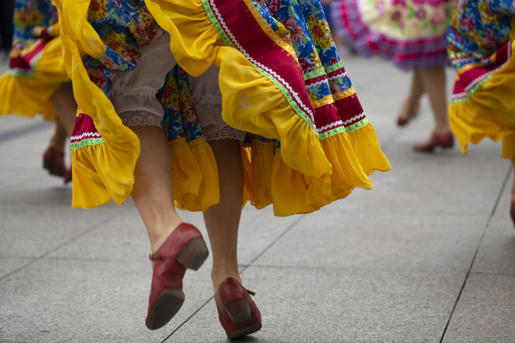 Russian folk dance group Asturias City Dance Holiday Horizontal Jump Low Angle View Music SPAIN Sunny Woman Colorful Dancing Folk Group Human Leg Movement Outdoors Performance Real People Russian Skirt Summer Traditional Clothing