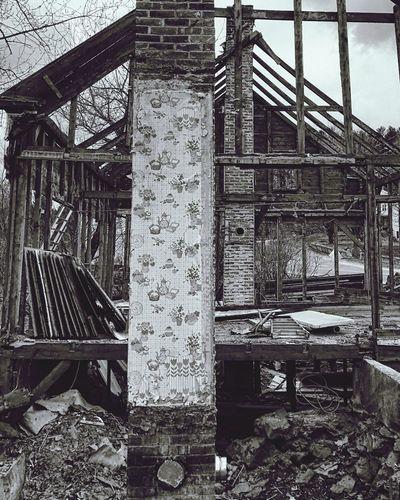 The teardown. Tearing Down House Deconstruction Chimney Brick Wallpaper