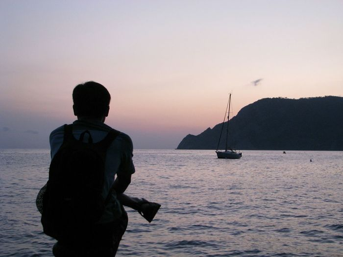 Pier Silhouette Sunset Sea Yacht Pondering Island Lonely Backpacker Solitude Cinque Terre