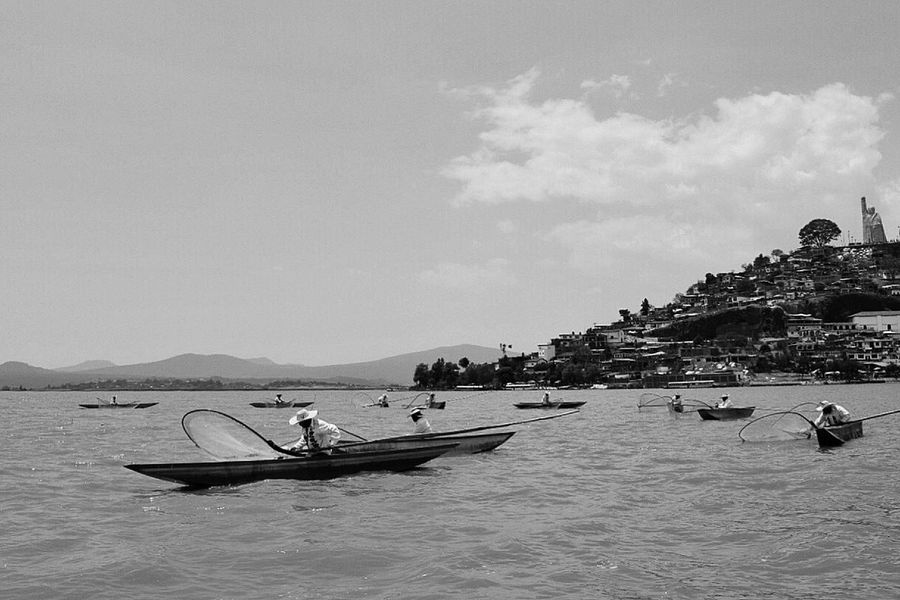 Patzcuaro Tradition Fishing Fishing Boat Fishing Village Island Lake Men Michoacan, México Nautical Vessel People Sky Town Water Black And White Friday